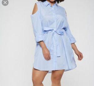 Dresses & Skirts - NWOT STRIPE SHIRT DRESS W/ WAIST BELT
